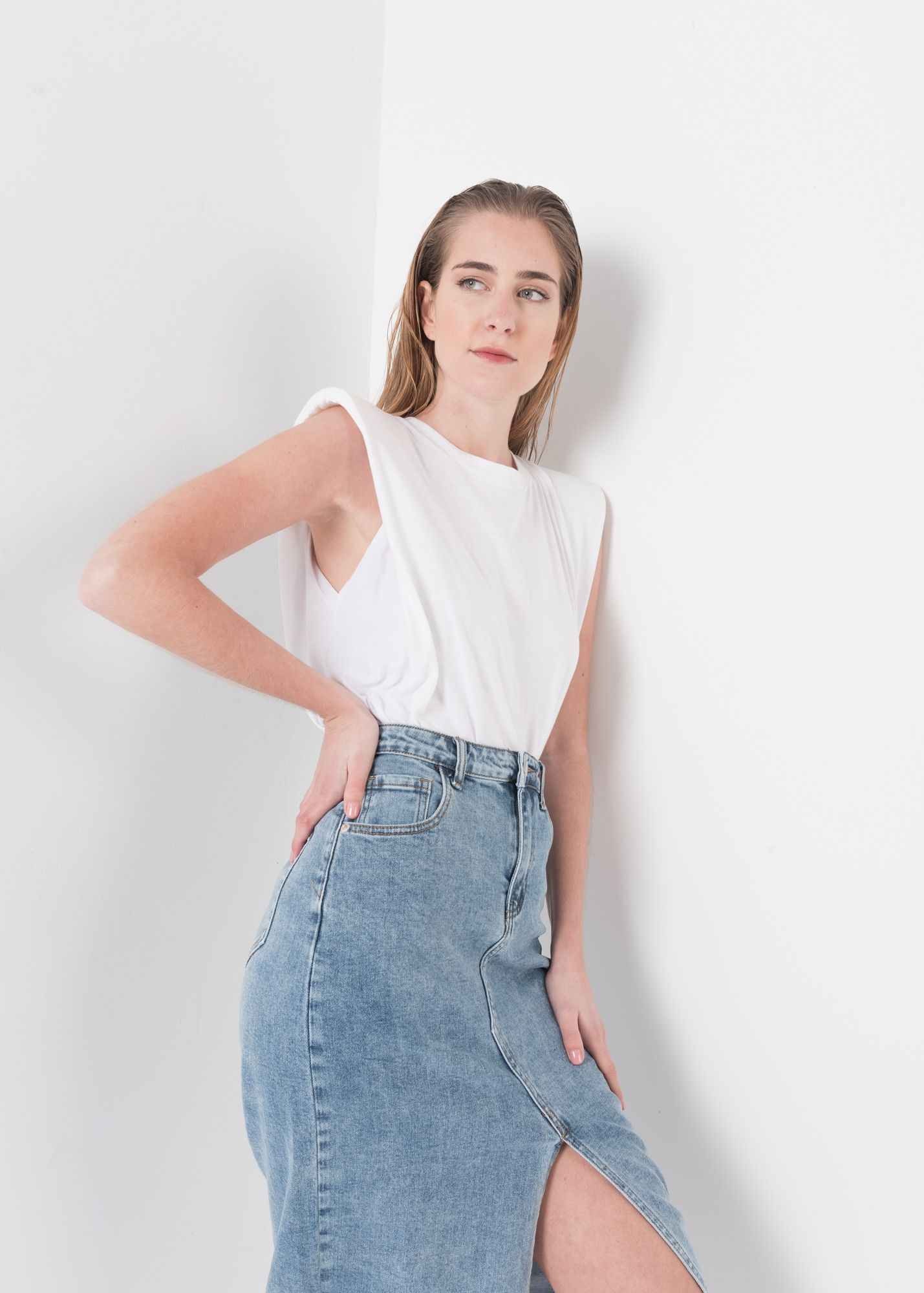 GONNA IN DENIM MIDI